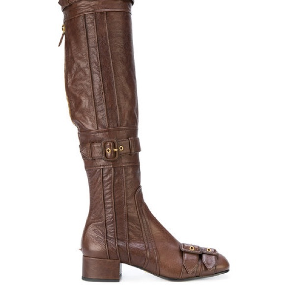latest discount outlet sale official sale Prada Thigh High Buckle Boots 30% off